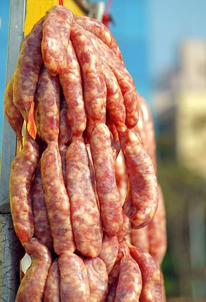 Handmade sausages at a local outdoor butcher Asian Food Butcher Casing Food Ground Meat Intestines Market Meat Pork Raw Meat   Sausage Uncooked