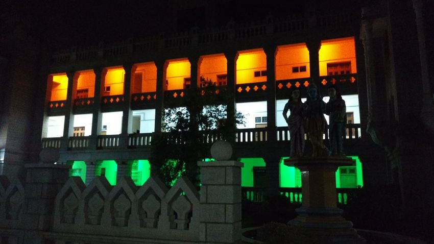 One of the heritage building of MSRIT Bengaluru in night illuminated as same as Indian Flag Bengaluru Creativity Indian Culture  Indian Flag MSRIT Multi Colored Nationality Religious  Statue Tiranga Tricoloured