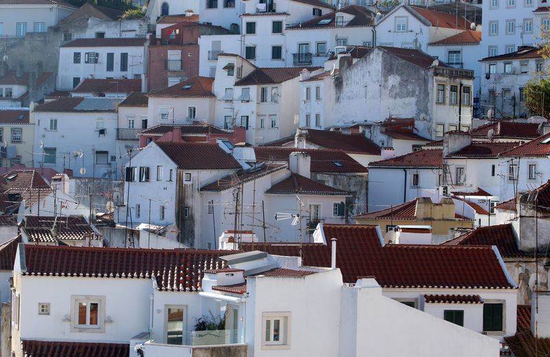 Cityscape. A view of buildings in Lisbon, Portugal. Cityscape Lisbon - Portugal Portugal Architecture Building Exterior Built Structure City Day Full Frame House Lisbon No People Outdoors Residential Building Roof Tiled Roof  Town