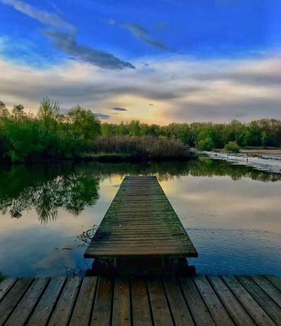 Love this life🙏 Water Cloud - Sky Wood - Material Sky No People Beauty In Nature Outdoors Tree Lake Nature Eye4photography  Pier EyeEm Best Shots Greece Tranquility Tranquil Scene Jetty Scenics Day Built Structure Wood Paneling