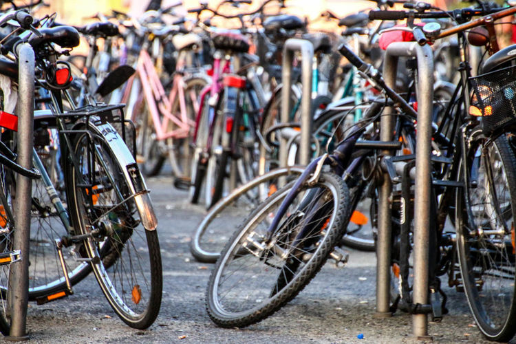 Bicycles Parked At Parking Station