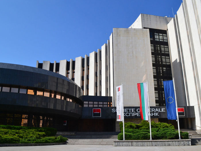 Varna, Bulgaria, June, 2018. The building of the Societe Generale Bank against a blue sky Société Générale Bank Building Exterior Building No People Outdoors Sky Day City Office Building Exterior Low Angle View Blue Architecture Business Banking And Finance Financial