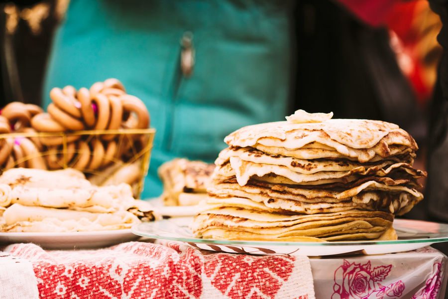 A stack of pancakes on a plate. Snack on holiday Maslenitsa Belarus Celebration Food And Drink Gomel National Slovenian Snack Tradition Close-up Cooked Culture Eat Folk Food Food And Drink Freshness Maslenitsa No People Nobody Outdoors Pankakes Ready-to-eat Russian Shrovetide Traditional