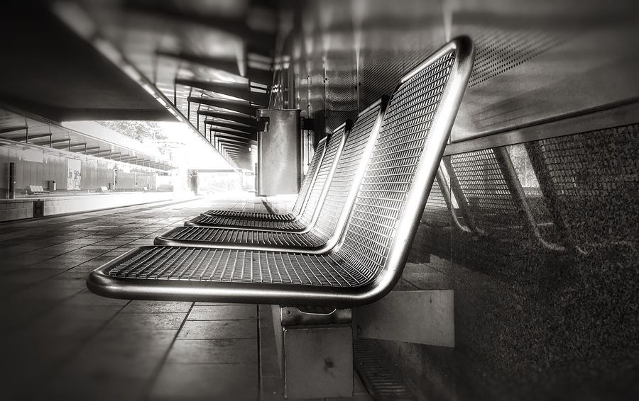 Exceptional Monochrome Train Station - Bench - urban exploration With The Eye Of A Photographer Urban Geometry Exploring New Ground Respect For The Good Taste Streetphotography Walking Around Urban Transportation EyeEm Best Shots Walking Fine Art Photography Cityscapes Getting Inspired Bestoftheday Masterclass Street Photography Fortheloveofblackandwhite Blackandwhite Original Experiences Urbanphotography Metal Black And White Minimalism Exceptional Photographs