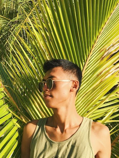 Young Man Wearing Sunglasses While Looking Away Against Plants