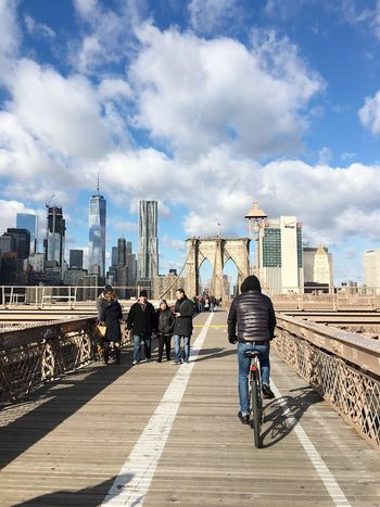 Bicycle Road Tourism Cloud - Sky Sky Transportation City Mode Of Transport Architecture Built Structure Building Exterior City Life Bicycle Travel Destinations Outdoors Bridge - Man Made Structure Downtown District Manhattan Brooklyn Bridge  Urban Skyline Day Land Vehicle Skyscraper Cityscape Modern New York