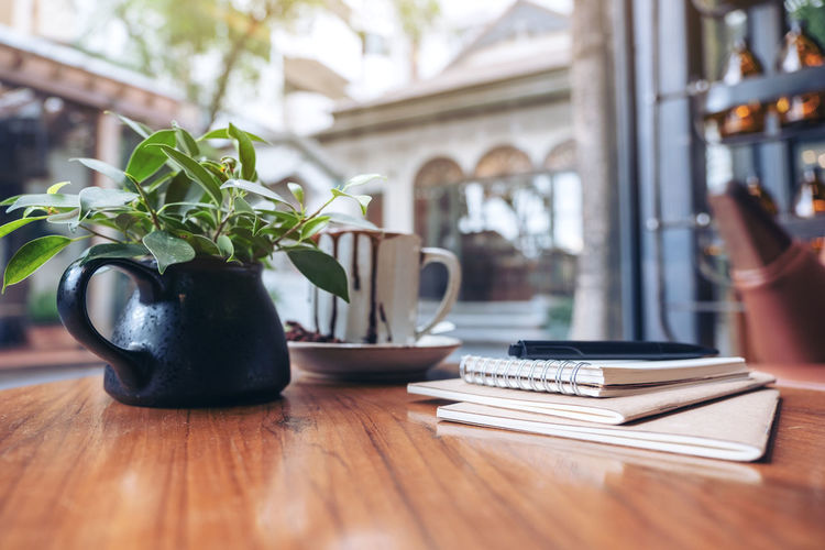 Notebook on wooden table Table Potted Plant Indoors  Plant No People Wood - Material Day Food And Drink Cup Nature Still Life Home Interior Mug Green Color Focus On Foreground Restaurant Growth Leaf Selective Focus Houseplant Crockery Notebook Book Books
