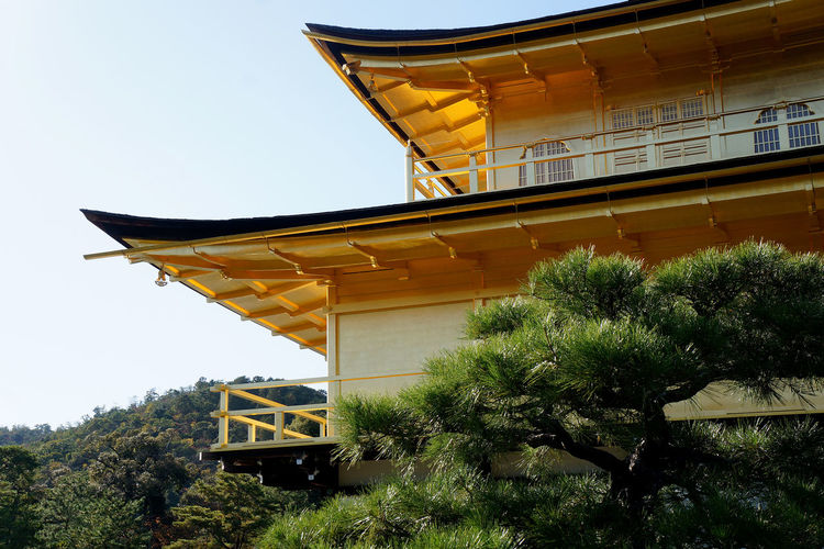 Low angle view of yellow temple by building against sky