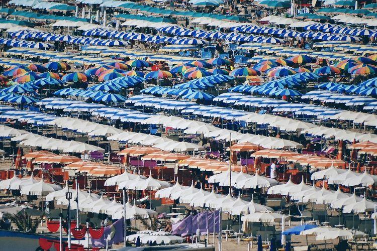 Full frame shot of multi colored beach umbrellas