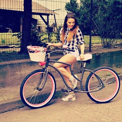 Girl Bicycle MK Photospam Summer Hot Happy Smile