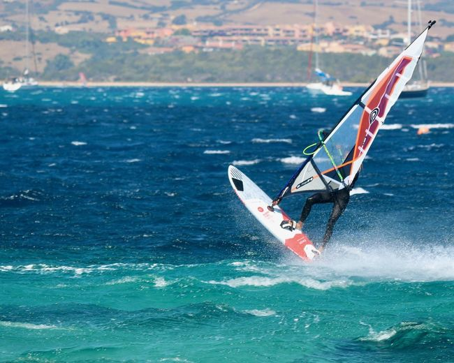 Water Sea Nautical Vessel Aquatic Sport Motion Day Sport Surfing Waterfront Windsurfing Wave People Extreme Sports Outdoors Scenics - Nature