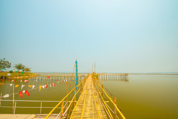 Panoramic view of bridge over sea against clear sky