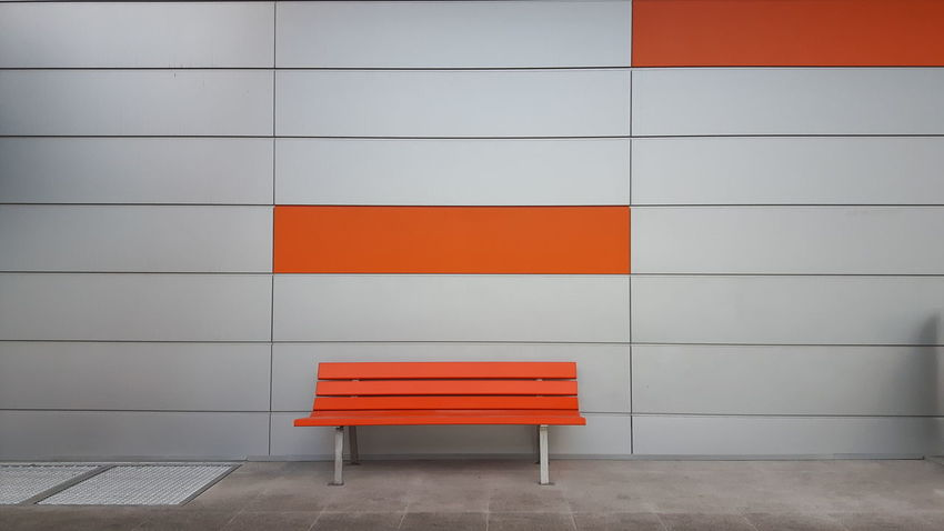 Orange Gray Background Bench Lines Urban Pattern Pieces Simplicity Loneliness Building Exterior Simple Background Outdoors No People Tranquil Scene Day Modern Enjoying Life Colour Of Life Architectural Feature Built Structure Sofia, Bulgaria Architecture Benches Orange Color Relaxation