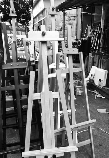 Artists Easels at Dafen Oil Painting Village in Shenzhen, China Painting Supplies Arts Equipment Arts Culture And Entertainment Artist Easel Easel Dafen Art Store Easels Dafen Oil Painting Village Artist Arts And Crafts Chinese Street Photography Street Photography Painting Art Store Art Shop Arts Wall Chinese Street China Shenzhen Dafen On The Street Art
