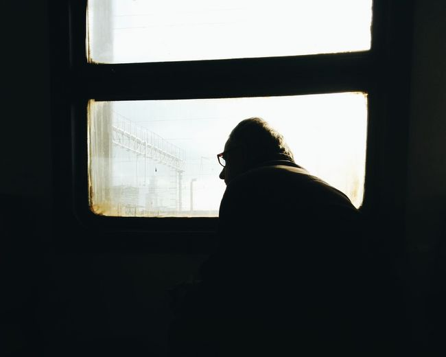 Rear view of silhouette person against window