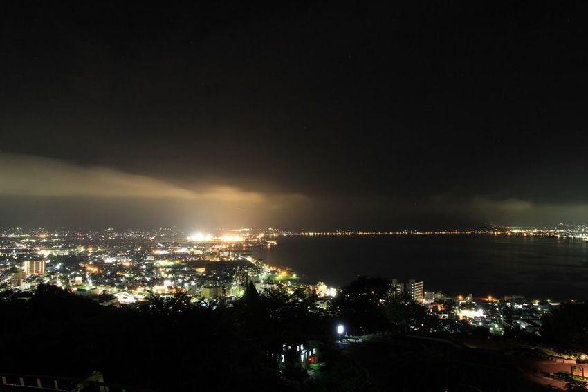 長野県 諏訪市 諏訪湖 立石公園 夜景 Japan Nagano Suwa Suwa Lake Tateishi Park Night
