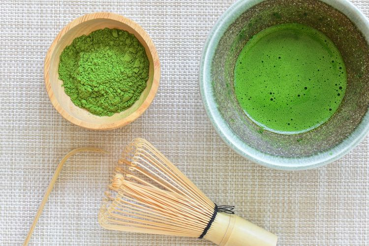 Matcha green tea Hot Drink Tea Green Tea Food And Drink Drink Matcha Tea Green Color Tea Hot Drink Directly Above Freshness Indoors  Refreshment Household Equipment Green Tea Food Kitchen Utensil No People Close-up Ceremony Wellbeing High Angle View Tea - Hot Drink