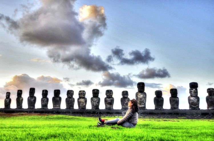 Moai Cloud - Sky Sky Grass Nature People Plant The Great Outdoors - 2018 EyeEm Awards