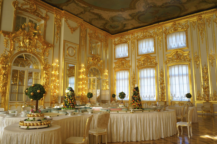 2014 Catherine Palace CatherinePalace Russia Saint Petersburg サンクトペテルブルク Gold Architecture Sculpture Gorgeous Room エカテリーナ宮殿 ロシア Table Table Ware