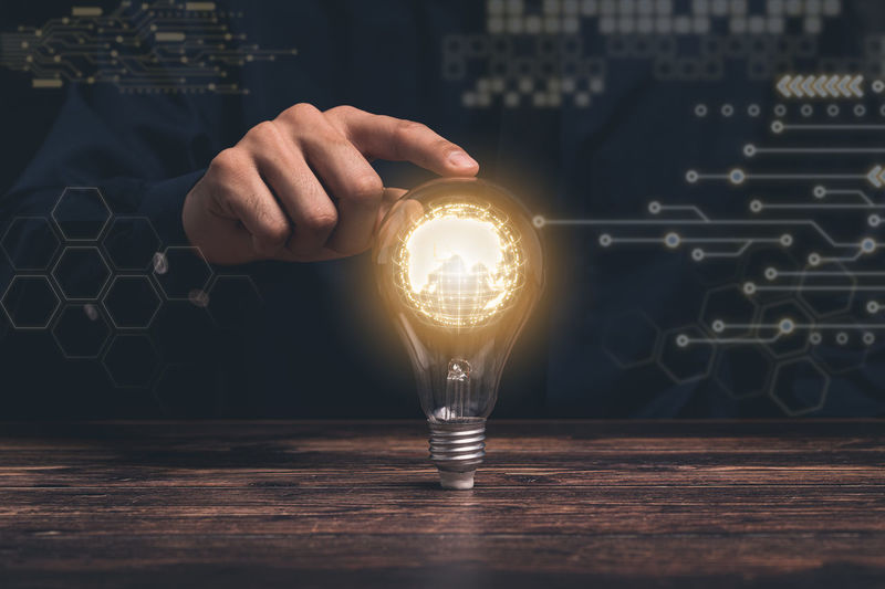 Concept, idea, light bulb growth illustration