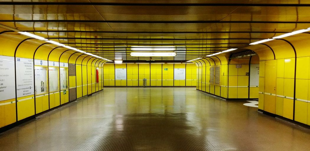 Empty subway station platform