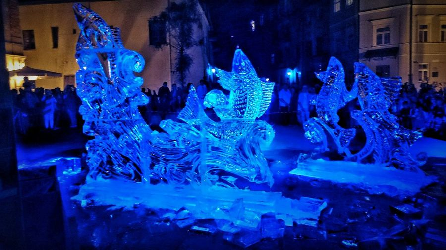 Art, Drawing, Creativity Artistic Expression Art Gallery Artistic Ice Crystals Ice Statue Ice Strukture Night Photography Nightlife Nightshot Nighttime Night Of Culture Poland 💗 EyeEm Gallery Xperiaphotography Xperia Z3 Ice Age