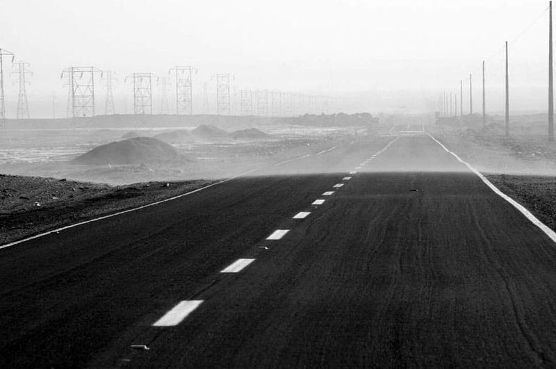 Sandstorm Road Blackandwhite Photography Desert Road