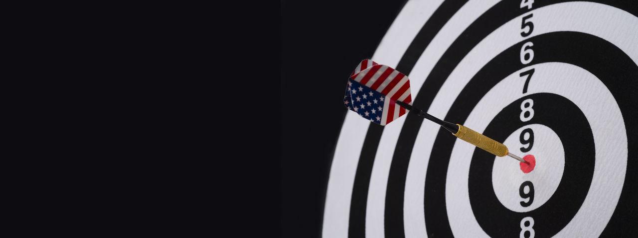 Close-up of flag against black background