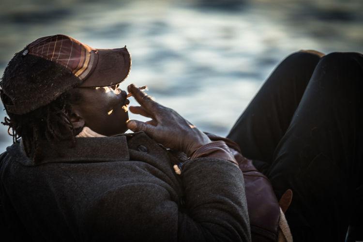 Smoke The Portraitist - 2018 EyeEm Awards Cigarrete Fire Homeless Men People Portrait