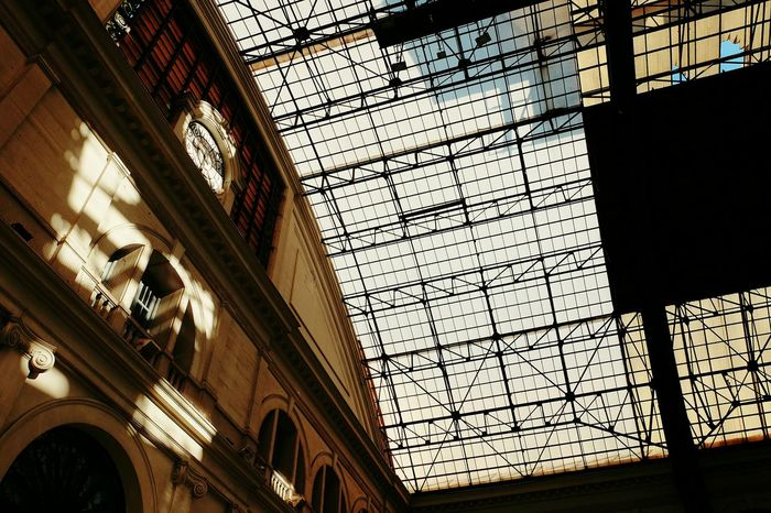 Architecture Built Structure Low Angle View Indoors  No People Day Railroad Station City Sky Sunlight Light And Shadow Light City Low Angle View Indoor Welcome To Black The Architect - 2017 EyeEm Awards