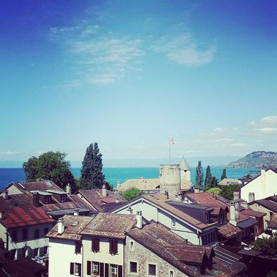 Loving the view from our place <3 FrontRowRocksEurope @frontrowec Frontrowfamily Montreux Vevey Switzerland View Lake Europe Trip