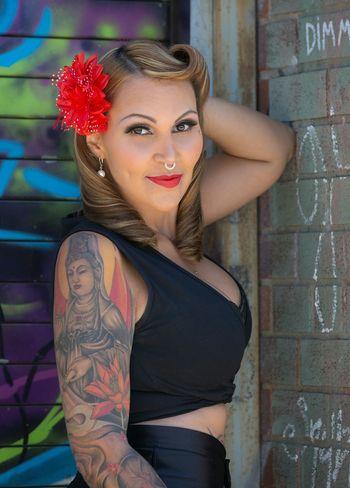 Zukee's Pinup tattoo Photo shoot Pixelperfectnyc David Gutierrez New York City Pinup Beautiful Female Model Model Magazine