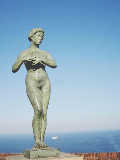 Statue At Montjuic Castle Against Sky