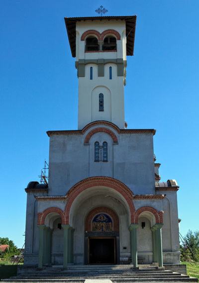New Orthodox church in Novi Sad, Serbia Chapel Christian Christianity Church Hope Jesus Saint Petersburg Architecture Bell Tower Blue Building Exterior Built Structure Clear Sky Cross Day Fate  Low Angle View No People Orthodox Outdoors Place Of Worship Religion Salvation  Sky Spirituality