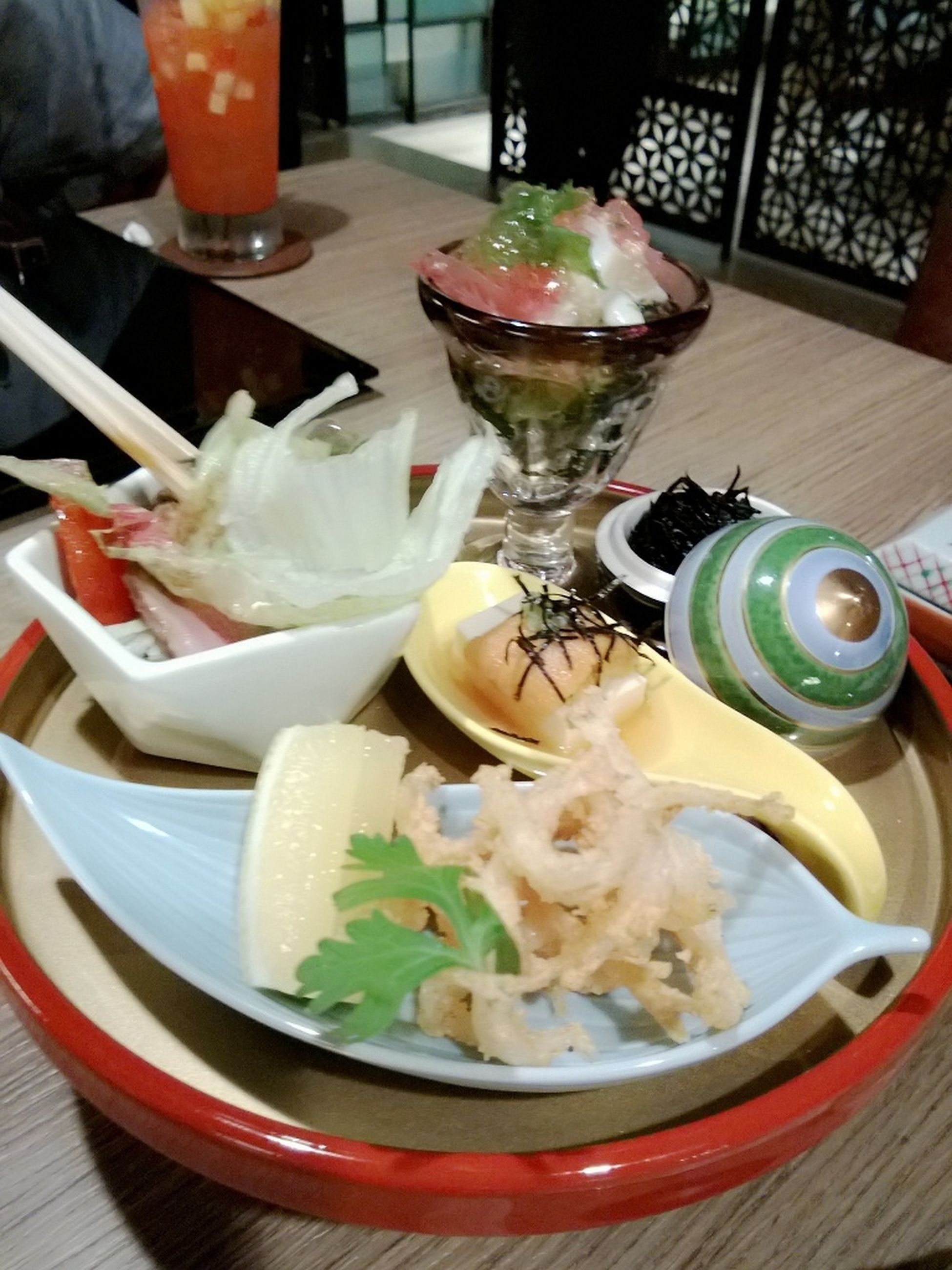 food and drink, indoors, freshness, food, table, ready-to-eat, plate, meal, healthy eating, serving size, still life, bowl, restaurant, drink, drinking glass, spoon, close-up, served, fork, chopsticks