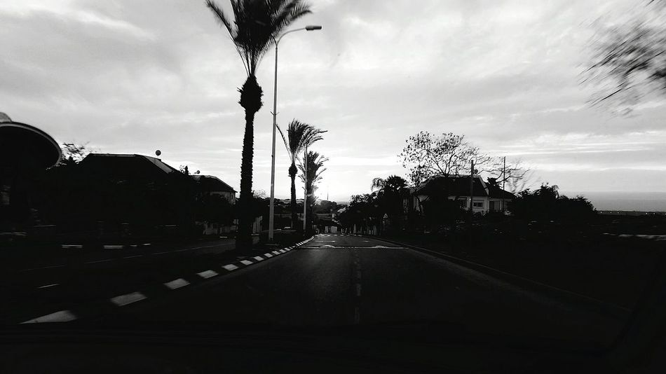 On The Road Black And White Traveling In Israel. Beautiful Sunset that You Can't See