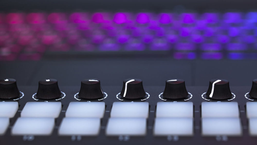 Colors Dj Home Studio MIDI Keyboard Modern Music Repetion Sound Buttons Close-up Controller Creation Digital Electronic Music Equipment Hobbies Knobs Mixing Music No People Sound Mixer Synthesizer Technology Volume White