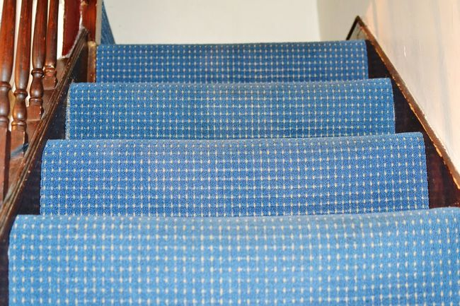 Indoors  Stairs And Steps Stairs Geometry Carpet, Flooring, Coverings, Patterns, Textures, Rugs, Ship, Backgrounds, Colorful, Polka Dot Carpet Light Blue Carpet Bright Wall Brown Wooden Bannister Indoor Photo Indoor Design No People
