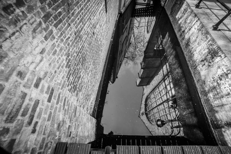Church reflections in water Architecture Built Structure Building Exterior Low Angle View Building Day No People City Water Wall Wall - Building Feature Window Staircase Outdoors Brick Brick Wall Old Nature Reflection Alley