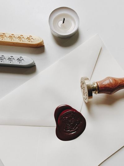 Wax Stamp Stamp Wax Harry Potter Indoors  Table Still Life No People High Angle View Candle Close-up Paper White Color White Background Love