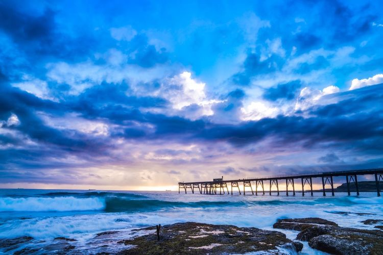 Good morning! Sea Sky Cloud - Sky Beauty In Nature Nature Water Scenics Tranquil Scene Outdoors Built Structure No People Beach Bridge - Man Made Structure Wave Architecture Day Morning Light