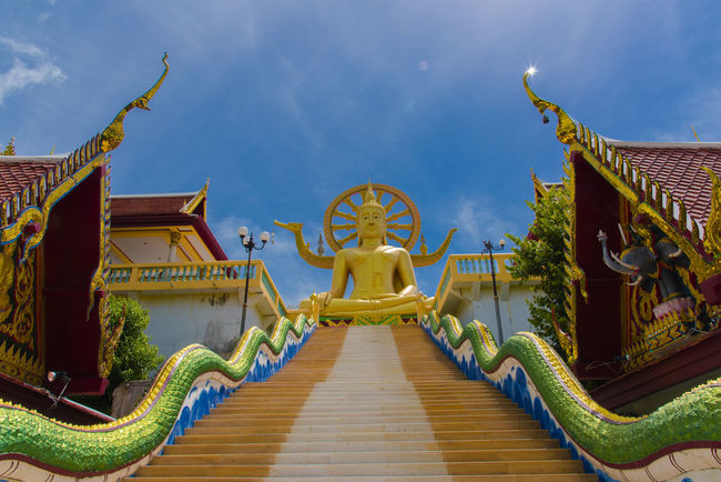 Big Buddha Architecture Art And Craft Belief Big Buddha Temple Big Buddha Statue Building Exterior Built Structure Cloud - Sky Day Direction Measure Nature No People Ornate Outdoors Place Of Worship Religion Sky Spirituality Staircase The Way Forward Travel Destinations เกาะสมุย เกาะสมุยมันมีอะไร