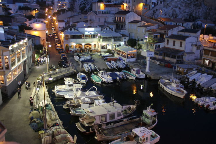Fishing Village Fishing Port Vallon Des Auffes Architecture Boats Building Exterior Built Structure By Night High Angle View Illuminated Nautical Vessel Night Outdoors Port Touristic Attraction Touristic Place