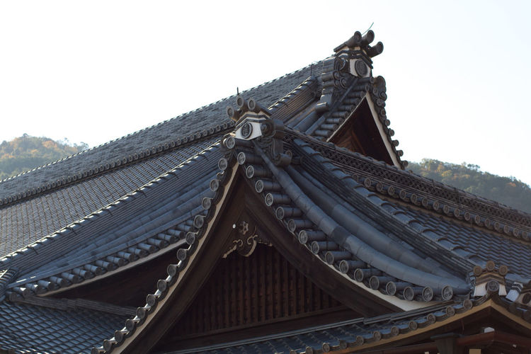 Wooden roof of temple against sky
