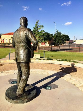 Statue Sculpture History Sky Tree Shadow Architecture Built Structure Day Full Length Outdoors People Texas Lubbock, TX Buddy Holly Music History Rock'n'Roll Pioneer