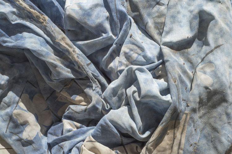 textile Blue Blue Grey Backgrounds Full Frame Textile Crumpled Close-up Textured  Sheet Wrinkled