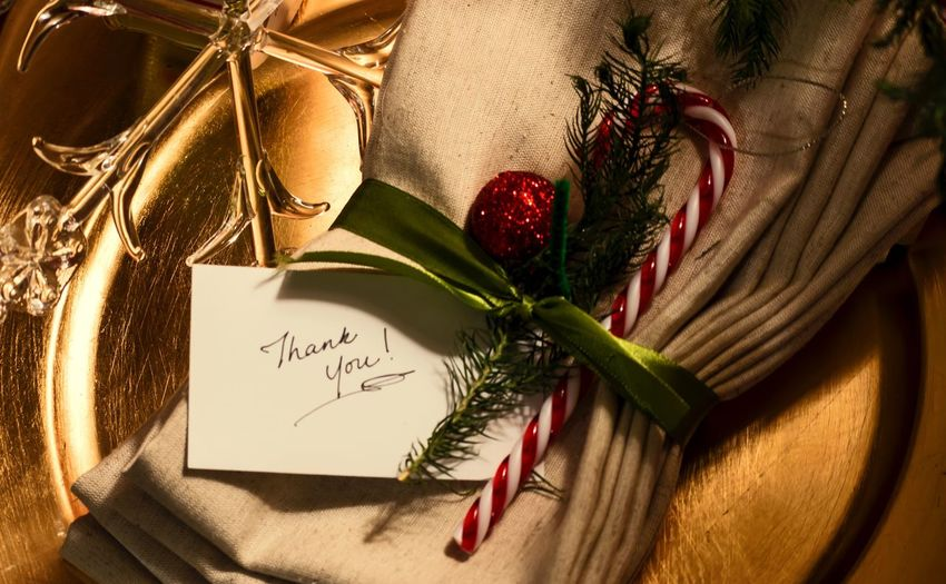 Handmade For You Text Handwriting  Leaf Paper No People Christmas Ornament Linens Linens And Textiles Napkins Wrapped Christmas Gift Hostess Handwritten Note Place Setting Place Card Candy Cane Lifestyle Holidays Food And Drink