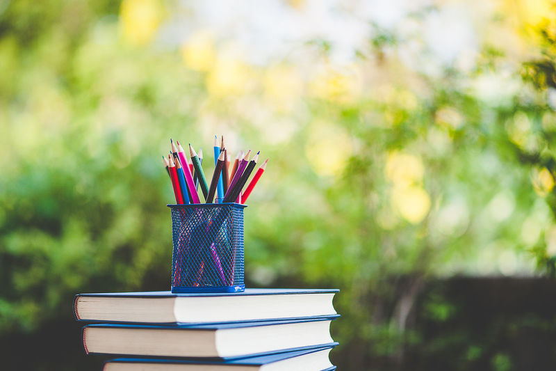 Book Close-up Colored Pencil Desk Organizer Education Expertise Focus On Foreground Hardcover Book Large Group Of Objects Learning Multi Colored Nature No People Pencil Publication School Supplies Stack Still Life Studying Table Textbook Writing Instrument