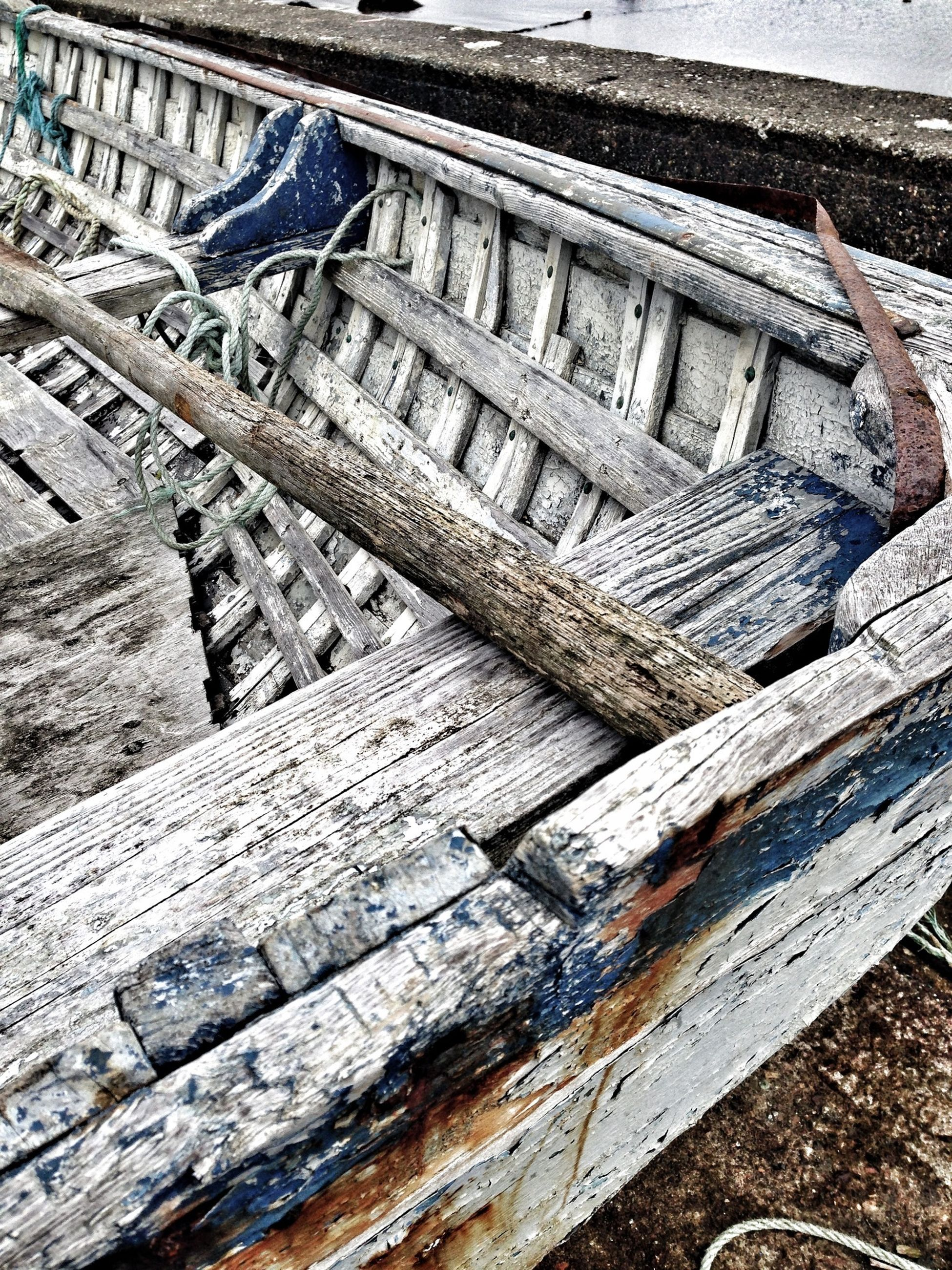 wood - material, high angle view, old, wooden, wood, day, outdoors, pier, damaged, water, built structure, transportation, obsolete, abandoned, no people, weathered, nautical vessel, bench, deterioration, boat