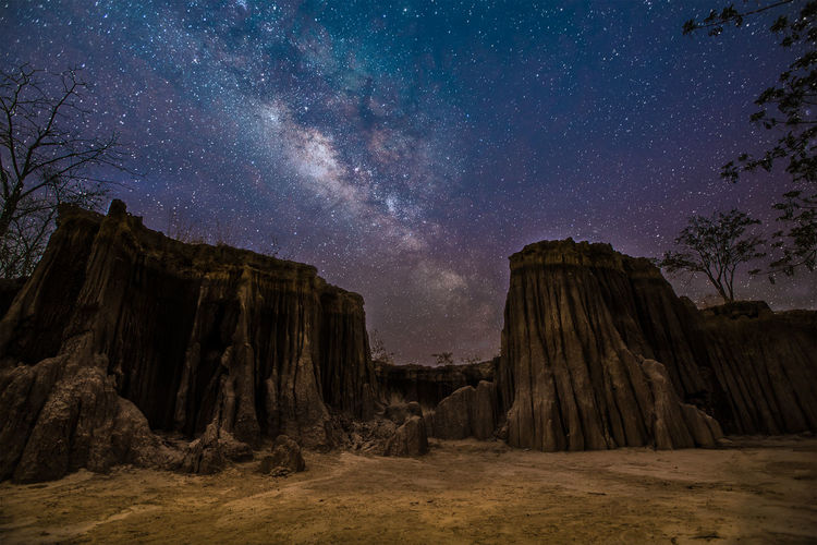 Panoramic view of rock formations at night